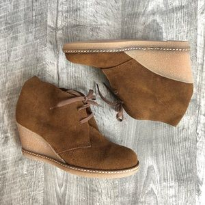 J Crew McAlister Brown Suede Wedge Bootie, Size 6